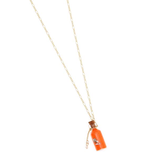 0070 # Κολιέ Μπουκαλάκι με Χρωματιστή Άμμο και Κοχύλι χρ. Πορτοκαλί