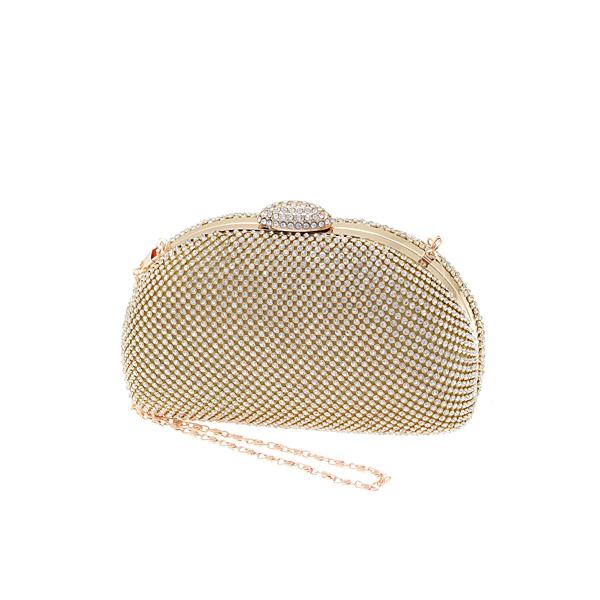 Mq 11659 # Βραδινό Τσαντάκι Clutch με Στρας χρ. Crystal / Gold