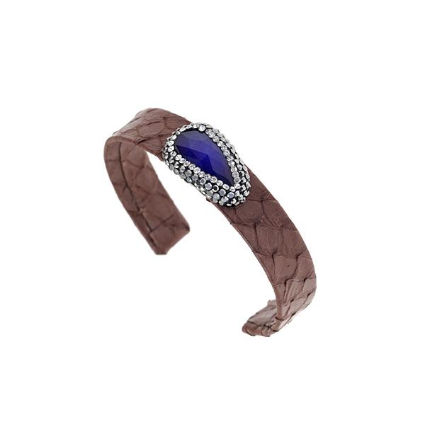 Hn 049 Βραχιόλι από Δέρμα Πύθωνα με Ημιπολύτιμη Πέτρα και Στρας χρ. Καφέ Σοκολά # 03