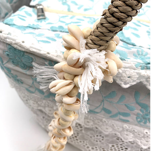 ΒΟ 1506 - Ψάθινη Τσάντα Παραλίας με Κεντημένα Λουλούδια χρ. Φυσικό / Σιελ