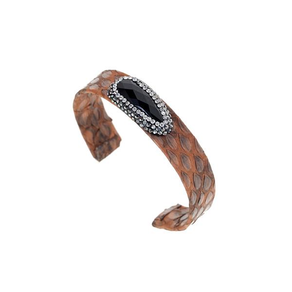 Hn 049 Βραχιόλι από Δέρμα Πύθωνα με Ημιπολύτιμη Πέτρα και Στρας χρ. Ταμπά # 01
