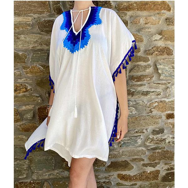 Καφτάνι Παραλίας ALICE με Φουντάκια χρώμα Λευκό / Μπλε Ρουά