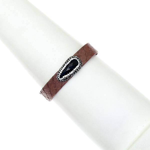 Hn 049 Βραχιόλι από Δέρμα Πύθωνα με Ημιπολύτιμη Πέτρα και Στρας χρ. Καφέ Σοκολά # 01