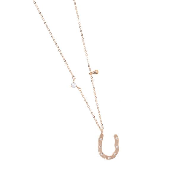 0258 # Ατσάλινο Κολιέ Πέταλο με Zircan χρ. Ροζ Χρυσό