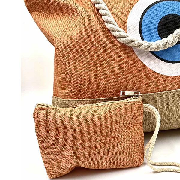 JK 18 - Λινή Τσάντα Παραλίας Μάτι χρ. Πορτοκαλί (Καλοκαίρι