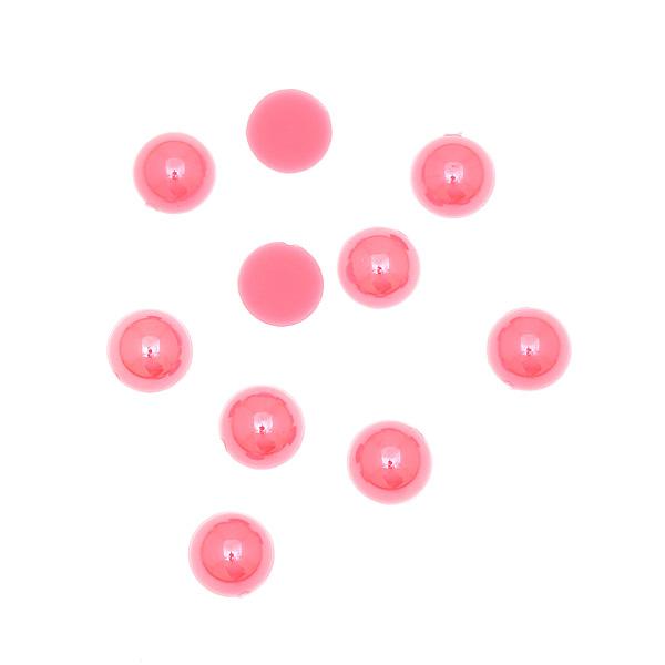 Ακρυλικές Επίπεδες Πέρλες 8 mm χρ. Ροζ # 9