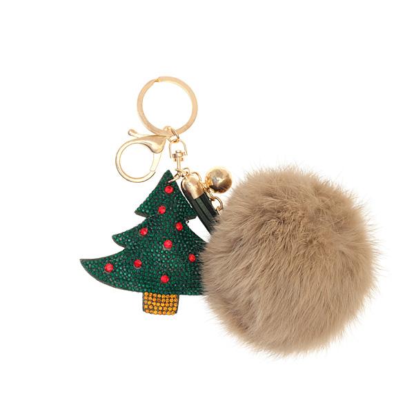 Μπρελόκ Χριστουγεννιάτικο Δέντρο με Πομ Πομ χρ. Μπεζ