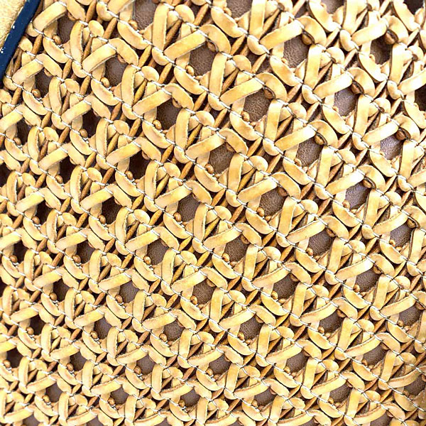 Art 2036 # Πλεκτή Τσάντα με Αλυσίδα χρ. Μουσταρδί
