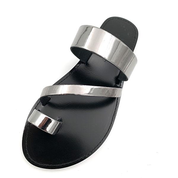 Οικολογικό Δερμάτινο Σανδάλι Πάρος χρ. Μαύρο / Ατσαλί Mirror (New Collection 2021)