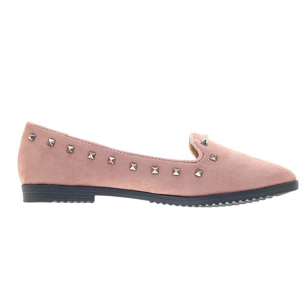 2866 # Σουέτ Loafers με Τρουκς χρ. Ροζ Nude