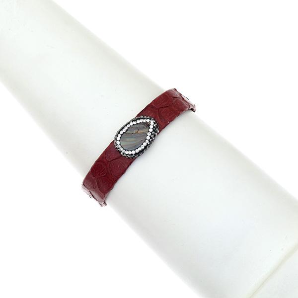 Hn 049 Βραχιόλι από Δέρμα Πύθωνα με Ημιπολύτιμη Πέτρα και Στρας χρ. Μπορντώ # 04