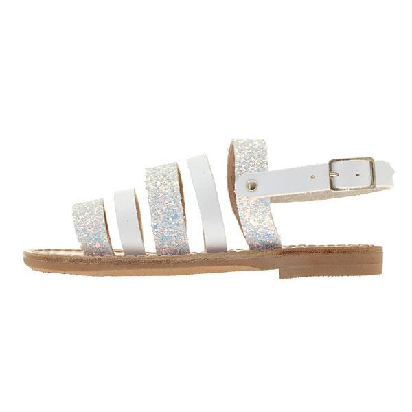 HE60013 Δερμάτινο Παιδικό Πέδιλο με Glitter χρ. Λευκό