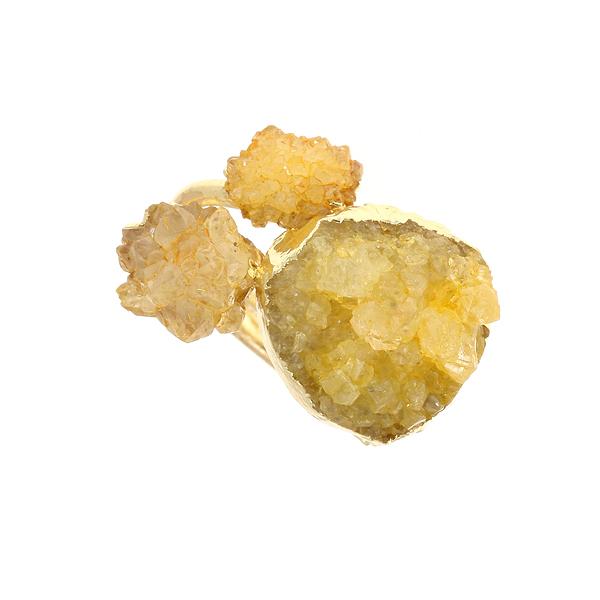 Dt 1139 Δαχτυλίδι με Ημιπολύτιμες Πέτρες Druzy χρ. Κίτρινο