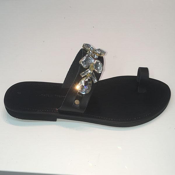 Οικολογικό Δερμάτινο Σανδάλι D 254 χρ. Crystal / Μαύρο (Περιορισμένη Ποσότητα)