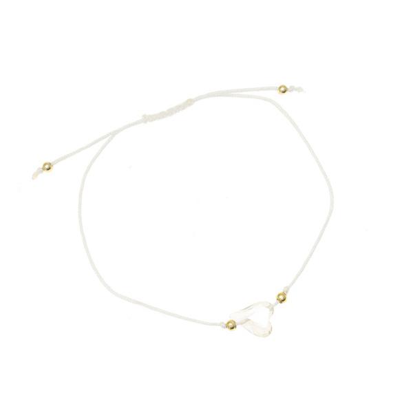 6110 - 4 # Βραχιόλι Μακραμέ με Κρυστάλλινη Καρδιά χρ. Λευκό