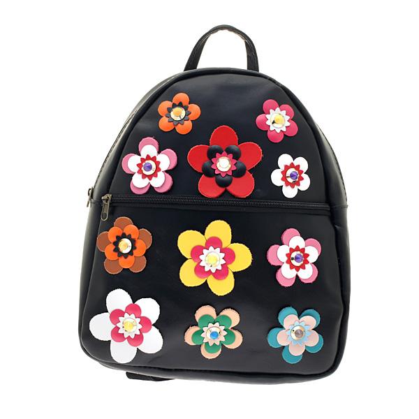 Art 10 Δερμάτινη Τσάντα Πλάτης με Λουλούδια χρ. Μαύρο