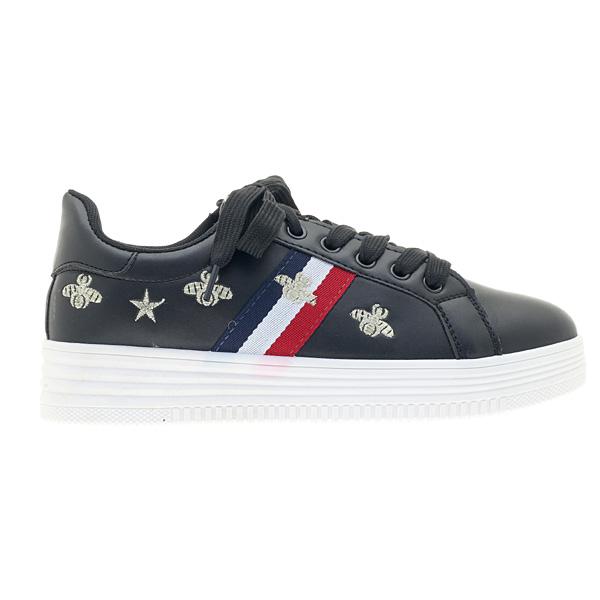 K - 120 # Sneakers με Κεντημένα Σχέδια χρ. Μαύρο