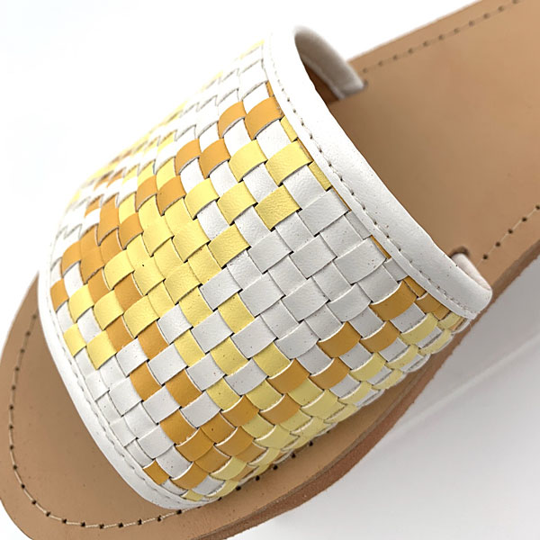 Art 1402 Οικολογικά Δερμάτινα Σανδάλια Ψάθα χρ. Κίτρινο (Καλοκαίρι 2020)