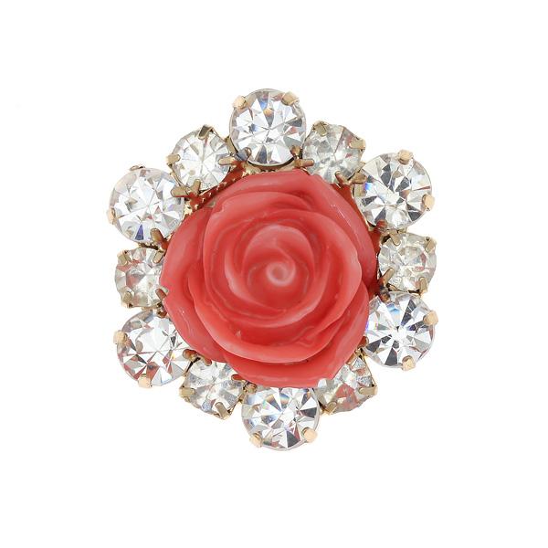 Dt 675 Διακοσμητικό Τριαντάφυλλο με Στρας χρ. Ροζ Σομών