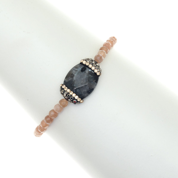 It 9600321 # Ελαστικό Βραχιόλι με Κρυστάλλινες Χάντρες Πέτρα Αχάτη και Στρας χρ. Μπεζ / Γκρι
