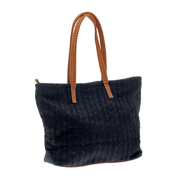 Art 03302 Πλεκτή Τσάντα με Χερούλια χρ. Μαύρο