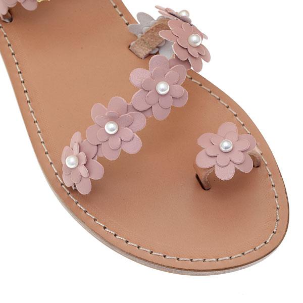 L 1114 # Τρέσσα με Δερμάτινα Λουλούδια και Πέρλες χρ. Ροζ