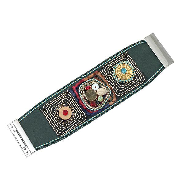 1003-7 # Vintage Φαρδύ Βραχιόλι με Σχέδια χρ. Πράσινο