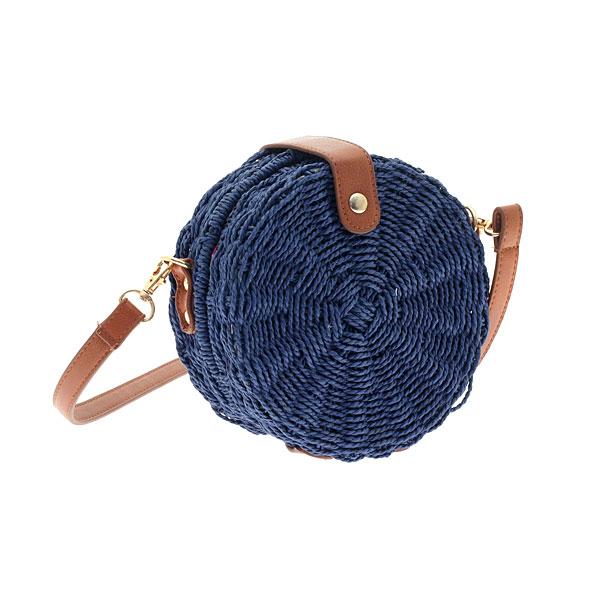 199-1 # Ψάθινη Στρογγυλή Τσάντα με Κούμπωμα χρ. Μπλε