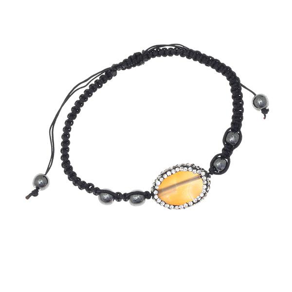 1001 # Βραχιόλι Μακραμέ με Πέτρα Αχάτη και Στρας # 06
