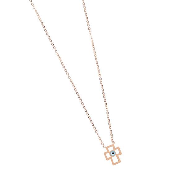 17ΒΟ - 88 # Ατσάλινο Κολιέ Σχέδιο Σταυρός με Ματάκι χρ. Ροζ Χρυσό