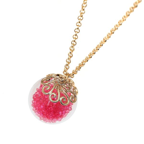 80065 # Μενταγιόν Γυάλινη Μπάλα με Στρας χρ. Φούξια