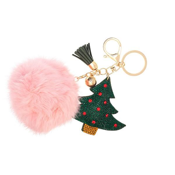 Μπρελόκ Χριστουγεννιάτικο Δέντρο με Πομ Πομ χρ. Ροζ