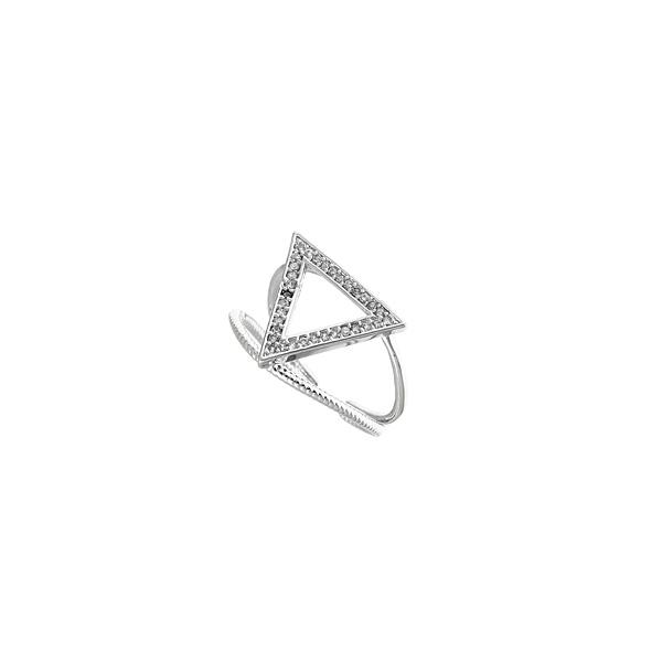 070 # Δαχτυλίδι με Σχέδιο Τρίγωνο με Zircan χρ. Crystal / Νίκελ