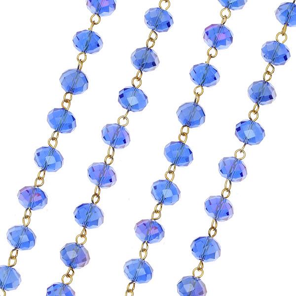 Dt 963 Αλυσίδα Ροζάριο με Κρυστάλλινη Χάντρα 10 mm. χρ. Μπλε Κοβαλτίου Iris # 6