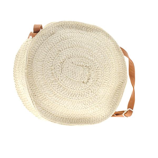 Ms06 # Ψάθινη Στρογγυλή Τσάντα με Φερμουάρ χρ. Εκρού