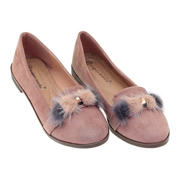 8321 # Σουέτ Loafers με Διακοσμητικά Γουνάκια και Τρουκ χρ. Nude