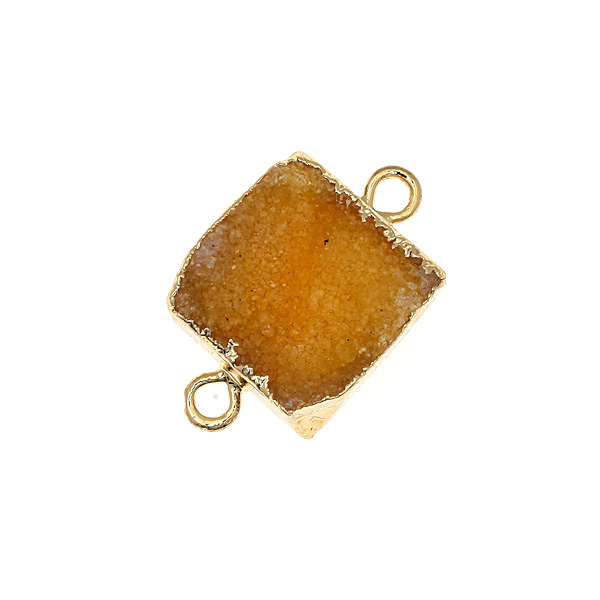 Dt 1018 Μικρή Ημιπολύτιμη Τετράγωνη Πέτρα Αχάτης Druzy για Μακραμέ χρ. Κίτρινο