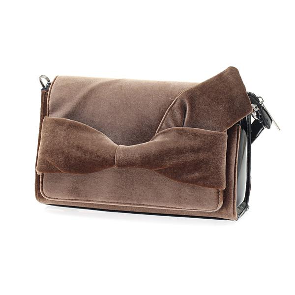 9257 # Βελούδινη Τσάντα Ώμου με Φιόγκο χρ. Μπεζ Καφέ