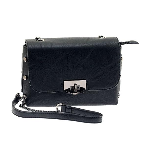 58007 # Μικρή Τσάντα με Μεταλλικά Τρουκς χρ. Μαύρο