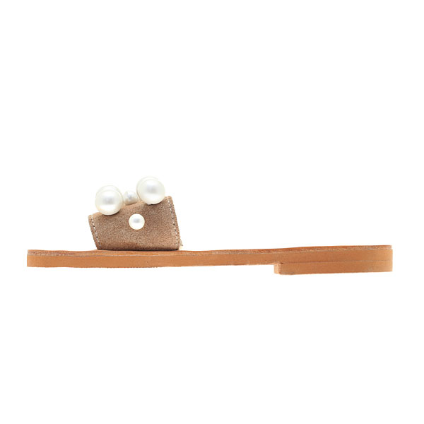 Art 3253 Δερμάτινο Σανδάλι με Πέρλες χρ. Nude / Φυσικό