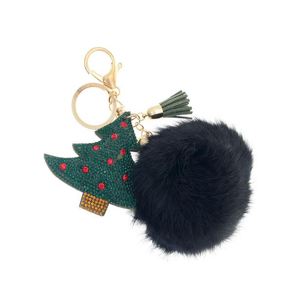 Μπρελόκ Χριστουγεννιάτικο Δέντρο με Πομ Πομ χρ. Μαύρο
