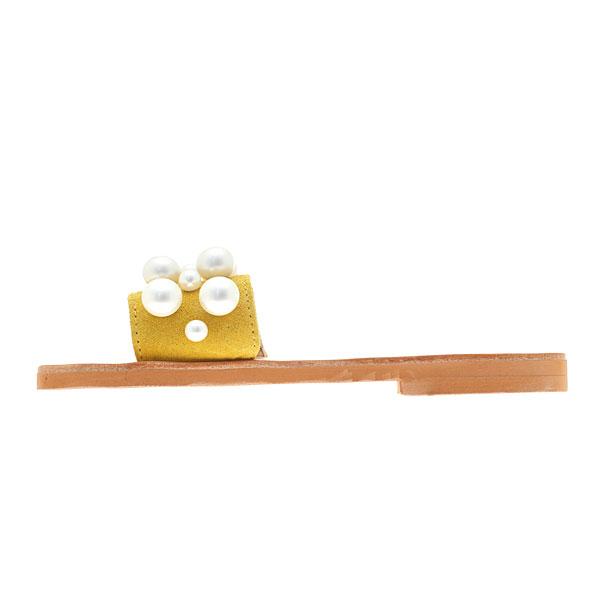 Art 3253 Δερμάτινο Σανδάλι με Πέρλες χρ. Κίτρινο / Φυσικό (Περιορισμένη Ποσότητα)