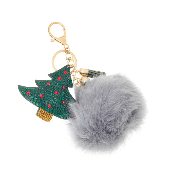 Μπρελόκ Χριστουγεννιάτικο Δέντρο με Πομ Πομ χρ. Γκρι