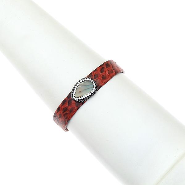 Hn 049 Βραχιόλι από Δέρμα Πύθωνα με Ημιπολύτιμη Πέτρα και Στρας χρ. Κεραμιδί # 04