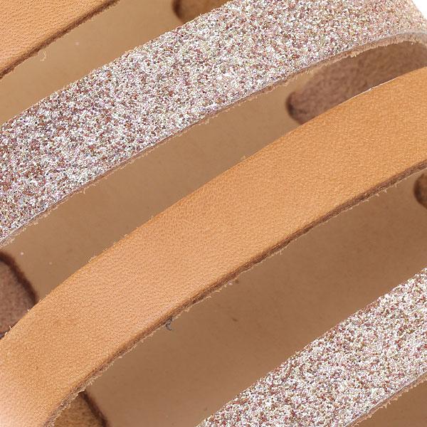 G 500 Οικολογικό Σανδάλι με 5 Λουριά και Glitter χρ. Rose Gold / Φυσικό