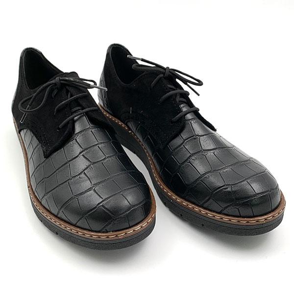 245 - Croco Oxfords από Συνθετικό Δέρμα χρ. Μαύρο (Χειμώνας 2020 - 2021)