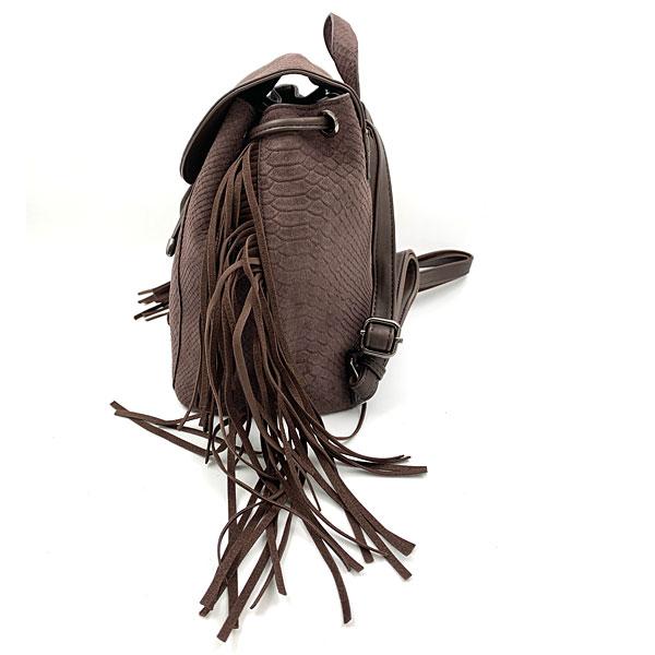 1901-3 Τσάντα Πλάτης με Κρόσσια χρ. Καφέ (Χειμώνας 2020 - 2021)
