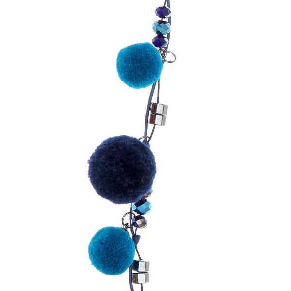 It 115 Ιταλικό Κολιέ με Πομ Πομ και Κρυστάλλινες Χάντρες χρ. Μπλε