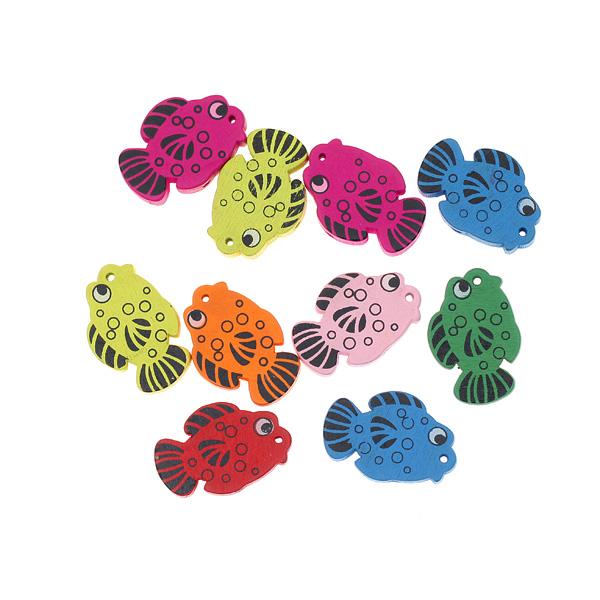 Ξύλινη Χάντρα Σχέδιο Ψάρι χρ. Μούλτι