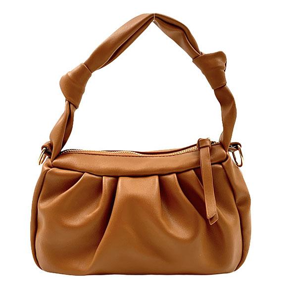 0901 - Μικρή Τσάντα Χειρός από Μαλακό Συνθετικό Δέρμα χρ. Ταμπά